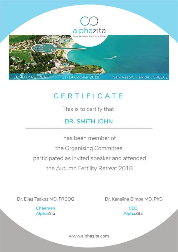 AlphaZita certificate